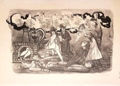 Funeral Love - Original Lithograph by Mino Maccari - 1967