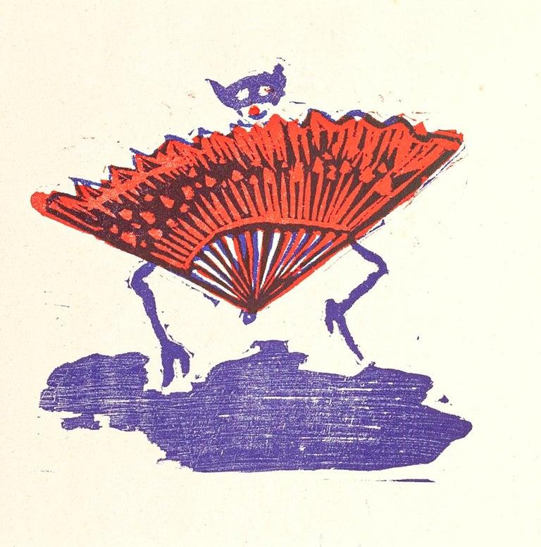 Hand Fan Clown - Original Woodcut Print by Mino Maccari - Mid-20th Century - White Figurative Print by  Mino Maccari