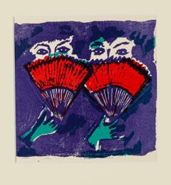 Hand Fan - Original Woodcut by Mino Maccari - Mid 20th Century