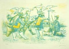 Hunters - Original Lithograph by Mino Maccari - Mid-20th Century