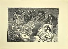 Knights - Original Woodcut by Mino Maccari - 1950s