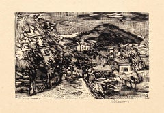 Landscape - Original Woodcut by Mino Maccari - 1925