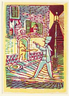 Lion Den - Original Woodcut Print by Mino Maccari - Mid 20th Century