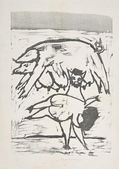 Mamma Roma - Original Woodcut by Mino Maccari  - Mid-20th century