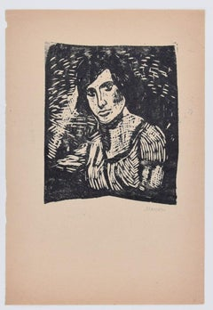 Man Figure - Original Woodcut by Mino Maccari - Mid 20th Century