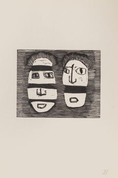Masks - Original Woodcut on Paper by Mino Maccari - Mid-20th Century