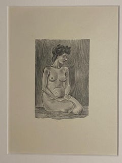 Nude of Woman - Original Zincography by Mino Maccari - 1950s