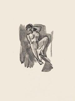 Nude - Original Zincography by Mino Maccari - 1970s