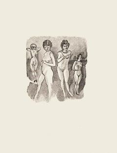 Nude Women - Original Zincography by Mino Maccari - 1970s