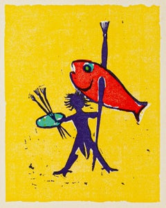 Painter Fisherman - Original Woodcut by Mino Maccari - Mid 20th Century