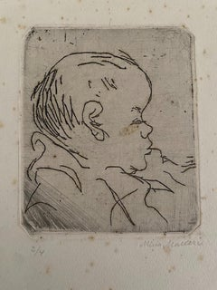 Portrait of a Baby- Original Etching on Cardboard by Mino Maccari - 20th Century