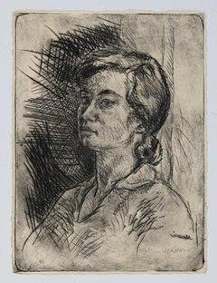 Portrait of Woman - Original Drypoint by Mino Maccari - 1929