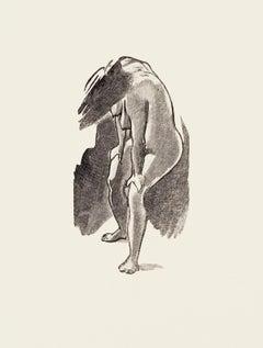 Posing Nude - Original Zincography by Mino Maccari - 1970s