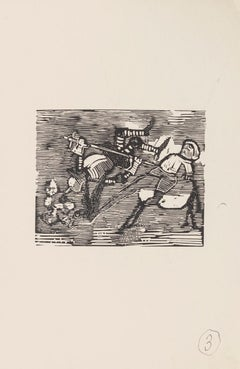 Satirical Scene - Original Woodcut on Paper by Mino Maccari - 1960s