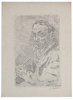 Self-portrait - Original Etching on Paper by Mino Maccari - 1930s