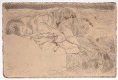 Sleeping Figure - Original Etching on Paper by Mino Maccari - 1925