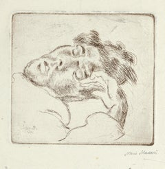 Sleeping Man - Original Etching on Paper by Mino Maccari - 1930s