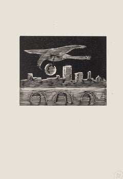 The Bird - Original Woodcut on Paper by Mino Maccari - MId-20th Century