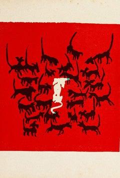 The Dogs - Original Woodcut by Mino Maccari - Mid-20th Century