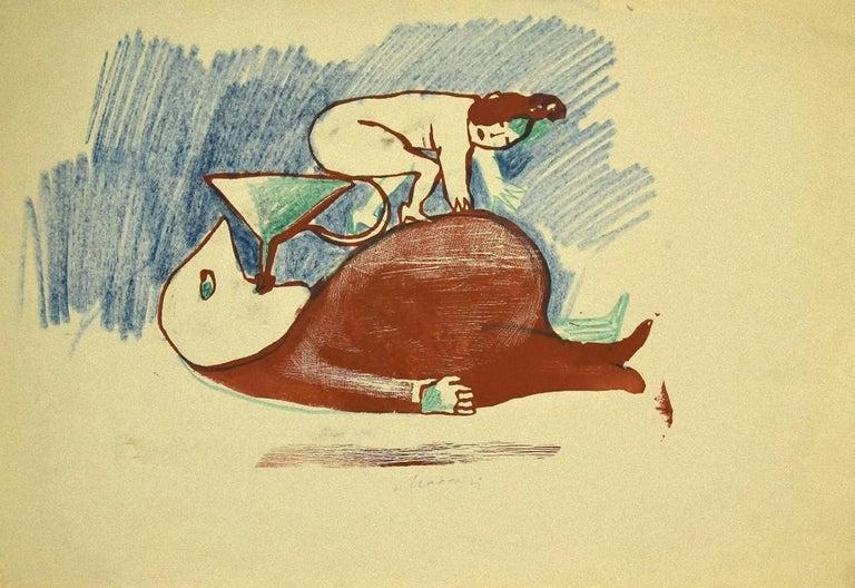 The Funnel - Original Lithograph on Paper by Mino Maccari - 1930s - Print by  Mino Maccari