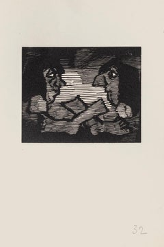 The Gaze - Original Woodcut on Paper by Mino Maccari - Mid-20th Century