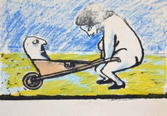 The Hand-Cart - Original Lithograph on Paper by Mino Maccari - 1930s
