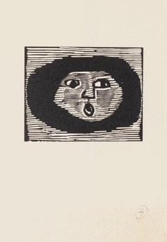 The Round Face - Original Woodcut on Paper by Mino Maccari - Mid-20th Century