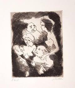 Untitled - Original Etching and Aquatint by Mino Maccari - 1960s