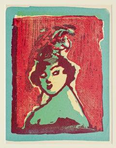 Woman - Original Woodcut by Mino Maccari - Mid 20th Century