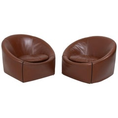 Minotti by Gordon Guillaumier Brown Leather Capri Armchairs, Set of 2, 2005