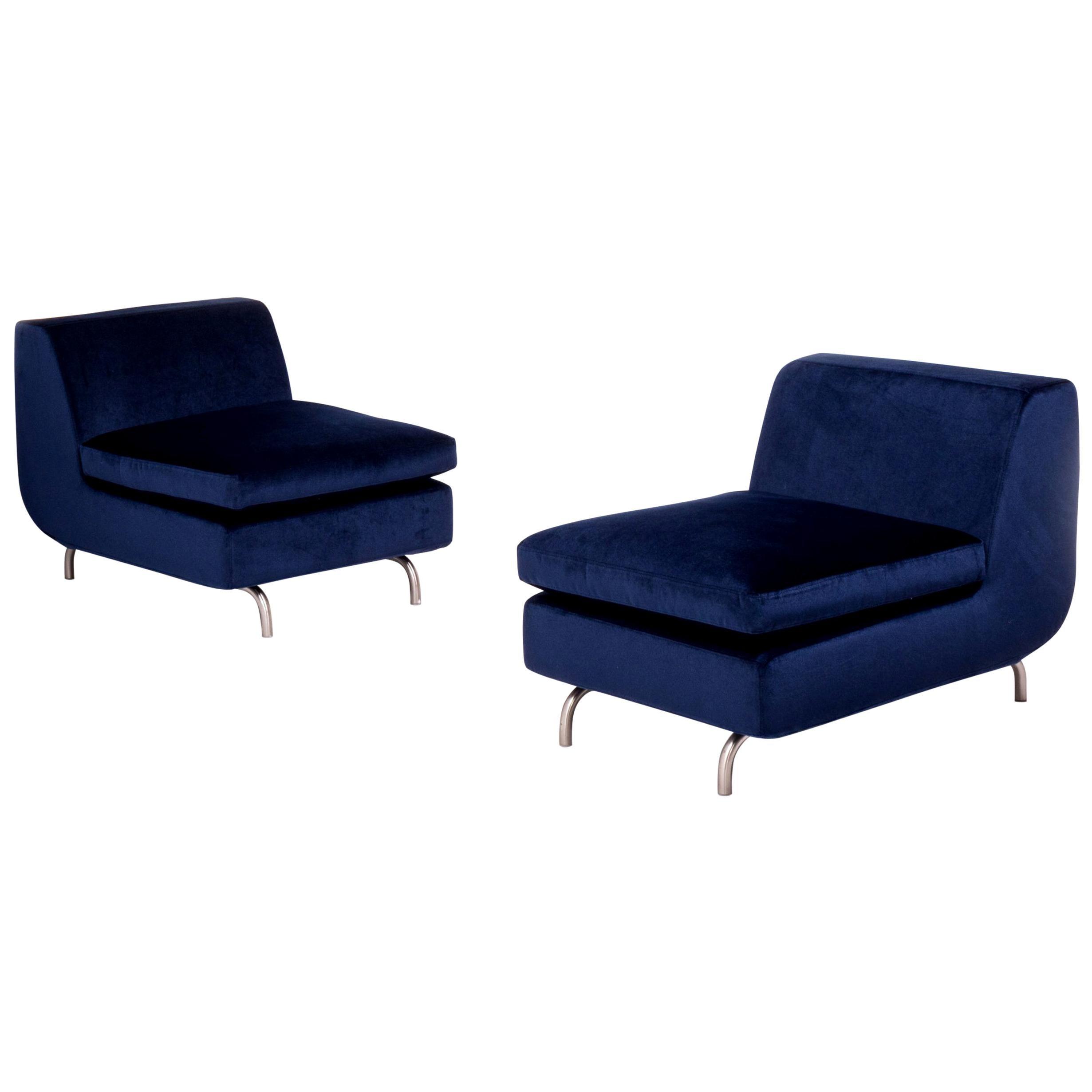 Minotti by Rodolfo Dordoni Dubuffet Navy Blue Lounge Chairs, Set of 2