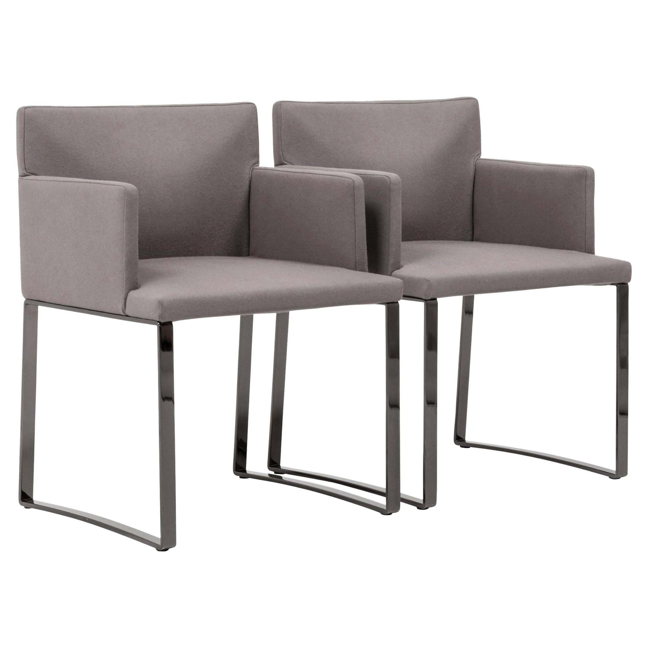 Minotti by Rodolfo Dordoni Modern Grey Wool Dining Chairs, Set of 2