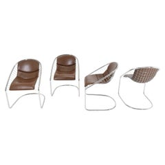 Minotti Chairs in Brown Leather by Gordon Guillaumier Cortina