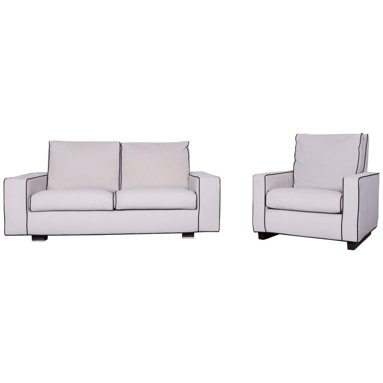 Incredible Minotti Designer Fabric Sofa Armchair Set In Grey Caraccident5 Cool Chair Designs And Ideas Caraccident5Info