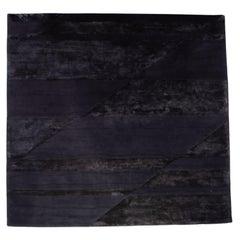Minotti Fluxus Fabric Rug Dark Blue Pattern