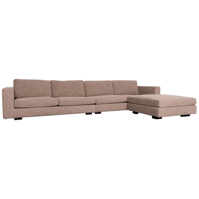 Minotti Hilton Designer Fabric Sofa Brown Corner Couch