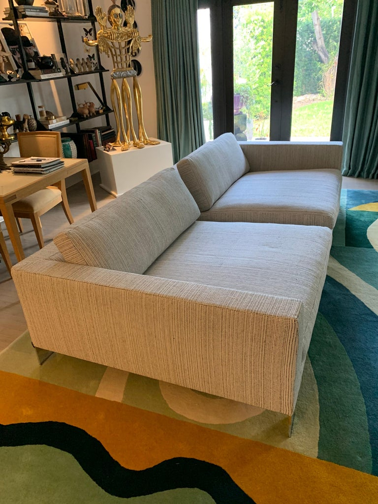 Stainless Steel Minotti Labelled Two-Piece Deep Sofa For Sale
