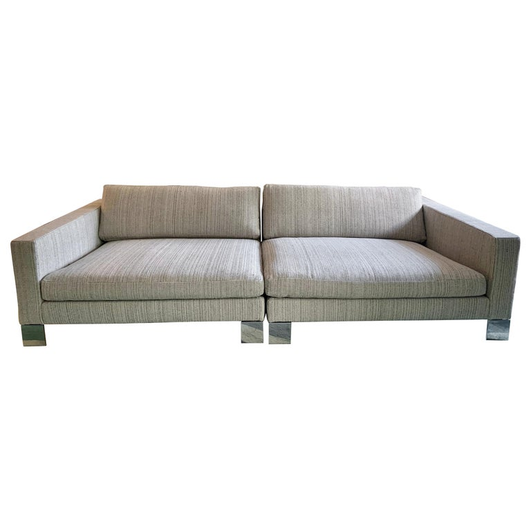 Minotti Labelled Two-Piece Deep Sofa For Sale