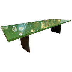 Minotti Midcentury Light Green Rectangular Dining Table, Italy, 1980s