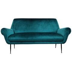Minotti Mid-Century Modern Turquoise Sofa by Gigi Radice