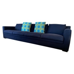 Minotti Navy Blue Extra Long Sofa Made in Italy with Knoll Key West Pillows