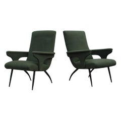 Minotti Pair of Midcentury Gigi Radice Armchairs Green Velvet Black Feet, 1950s