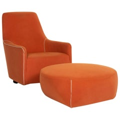 Minotti Portofino Fabric Armchair Incl. Stool Orange