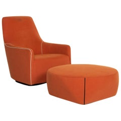 Minotti Portofino Leather Armchair Includes Stool Orange