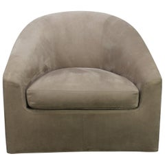 "Minotti ""Quinn"" Swivel-Base Armchair in Suede Leather by Rodolfo Dordoni"