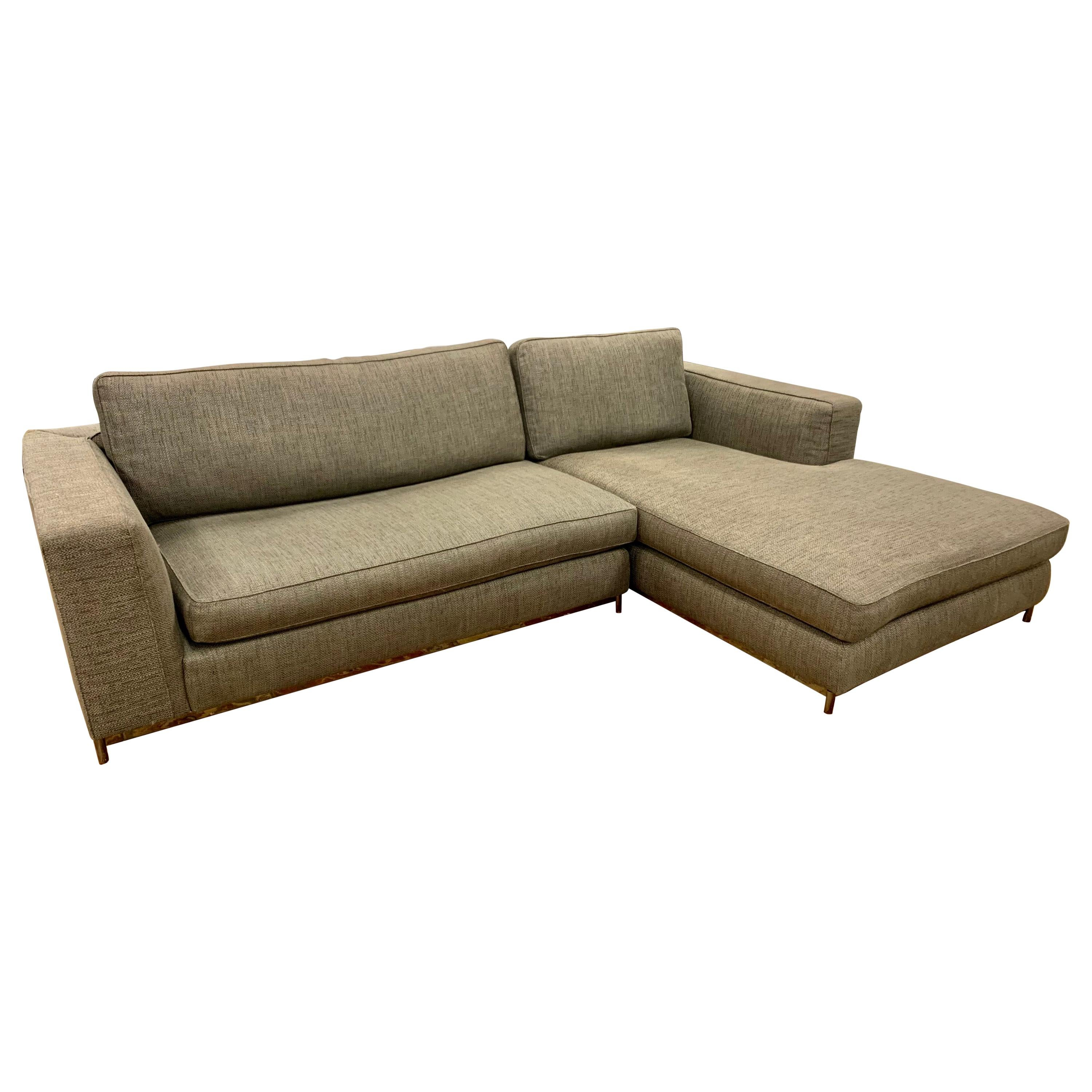 Minotti Signed Two-Piece Floating Sectional Sofa Made in Italy