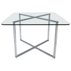 Minotti Style Square Lucite, Glass and Chrome X-Base Side /End / Cocktail Table