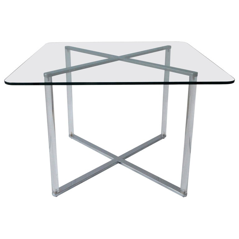 Minotti Style Square Lucite, Glass and Chrome X-Base Side /End / Cocktail Table For Sale