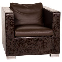 Minotti Suitcase Line Leather Armchair Brown Dark Brown