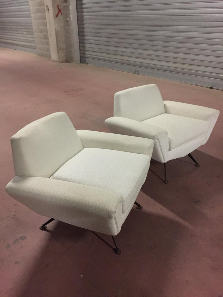 Minotti White Cotton Sofa And Armchairs For Sale At 1stdibs